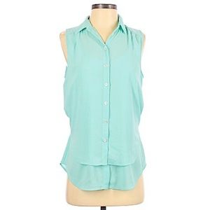 Anthro Maeve Real Sleeveless Button-Up Top